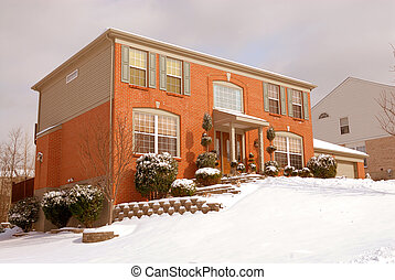 Home on the Hillside in Winter - Home on the hillside in...