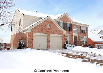 Suburban Life - Two story brick home in the suburbs on a...