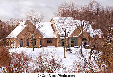 Beautiful Brick Home in the Country in Winter - Two story...
