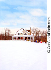 Farmhouse in the Country in Winter - A beautiful two story...