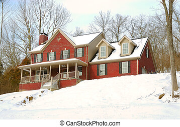 Brick House on a Snowy Hillside - Brick house sitting high...