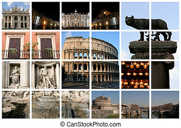Fabulous Rome Collage - Fabulous Rome collage with famous...