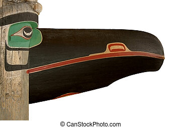 """Raven - Detail of the totem \\\""""Wakas Pole\\\"""" in the..."""
