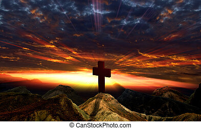 Sunset and Idol - Crucifix , sunset and mountain