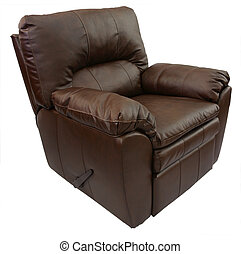 Leather Recliner - Brown Overstuffed Rocker Recliner in Top...