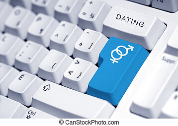 Internet dating - symbol for a man and a woman on the...