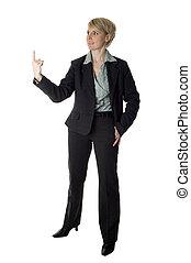 women - business women holding something on finger on white