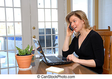 Blond woman on the phone - cute blond woman ion the phone...