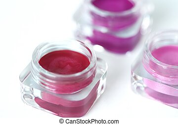 Lip gloss - three jars of pink and red lip gloss - lipstick