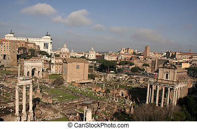 Forum Romanum - Birdseye view of Forum Romanum with Temple...