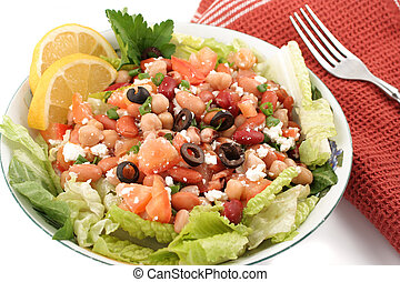bean salad - fresh and healthy mediterranean style bean...