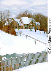 Mansion on a Snow Covered Hillside - private home on on a...