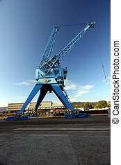 Harbor crane in blue