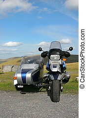 Motorbike with Sidecar - Metallic blue and silver motorbike...