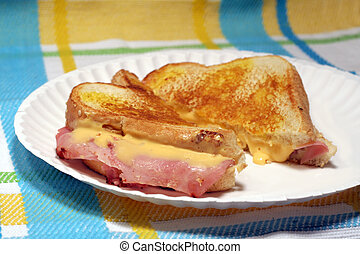 Grilled Cheese Sandwich - Grilled cheese and ham sandwich on...
