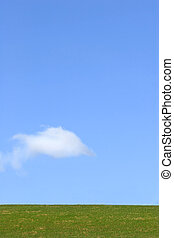 Earth, Sky and Cloud Simplicity - Landscape of grass against...