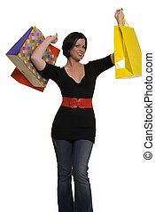 Happy shopper - Happy woman holding up a bunch of colorful...