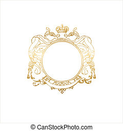 round frame with floral ornament and crown. Blank so you can...