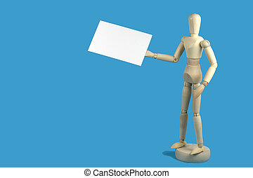 My Card - Wooden artists mannequin holding a blank business...