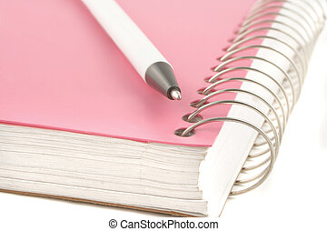 ring binder and pen - pink covered metal ring binder...