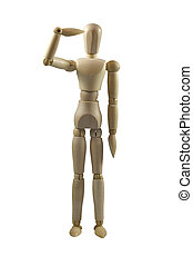 Attention - Wooden mannequin in saluting pose, isolated on...