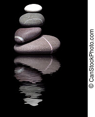 Pebbles reflection - Pebble sculpture with harsh lighting...