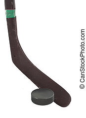ice hockey - winter sport hockey puck and hockey stick