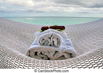 hammock and spa - white hammock and  aromatherapy spa stuff.