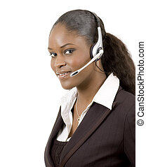 Friendly Support - This is a close-up image of a female call...