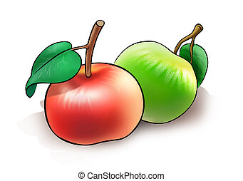 Two apples - llustration of two apples on white background
