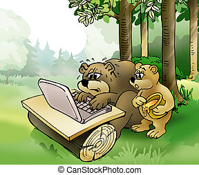 Bears surfing - Brown bear and bear cub surfing on the...