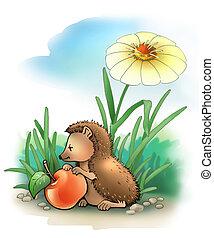 HEDGEHOG 2 - Little hedgehog with apple (summer)