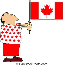 Canadian Patriot - This illustration depicts a man holding a...