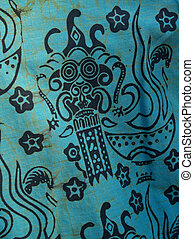 African Batik Print Cotton Shirt Detail - Batik design...