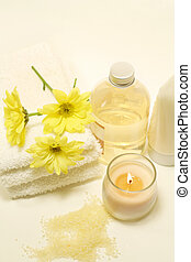 Bath/Spa Still Life - Bath/spa items; soaps, lotions,...