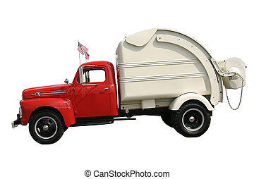 Trash Truck - This is a picture of the side view of an old...
