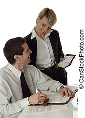 business - young business couple working in office on white