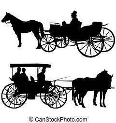silhuetas, carruagem