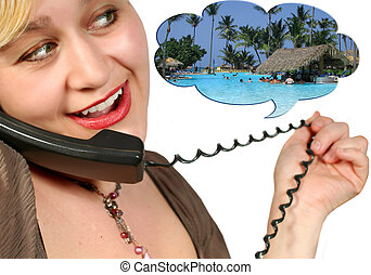 phone talk - chatting on the phone about travelling to the...