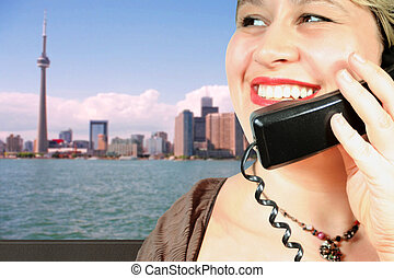 International call - woman makes an international call in...