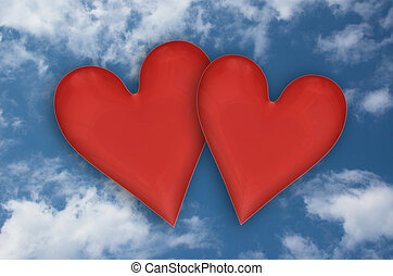 two hearts on sky - two red hearts on blue sky whit clouds