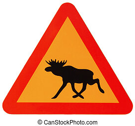 attention elk - a triangle traffic sign warns attention elk