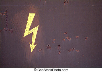 attention electricity - a drawn electricity board on a rusty...