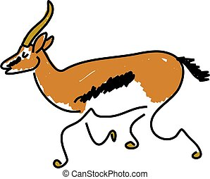 gazelle - a gazelle isolated on white drawn in toddler art...