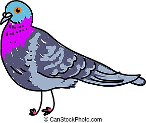 pigeon isolated on white drawn in toddler art style