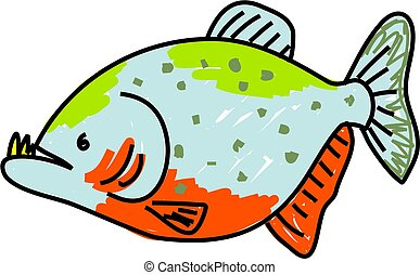 piranha fish isolated on white drawn in toddler art style