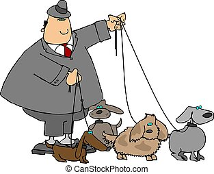Walking The Dogs - This illustration depicts a man with four...