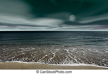 Landscape beach - Picture of a night beach landscape