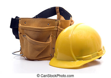 tool belt an hard hat - hard hat protection helmet and tool...