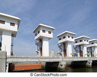 Floodgate at a canal entrance at the Chao Praya river in...
